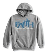 Faith Is Trusting, Gray Hooded Sweatshirt, Large (42-44)