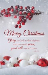 Merry Christmas - Glory to God (Luke 2:14, KJV) Christmas Bulletins, 100