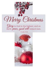 Merry Christmas - Glory to God Cross Design Bookmarks, 25