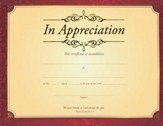 In Appreciation (1 Thessalonians 1:2 ) Gold Foil Embossed Certificates, 6