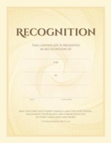Recognition (Thessalonians 2:16-17, NIV) Gold Foil Embossed Certificates, 6