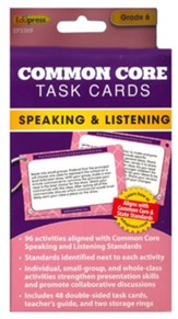 Common Core Speaking and Listening Cards, Grade 6