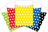 Peel & Stick Book Pockets: Assorted Polka Dots, Pack of 25
