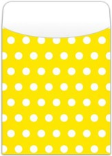 Peel & Stick Book Pockets: Yellow Polka Dots, Pack of 25