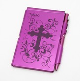 Metal Note Case and Pen Set, Red Filigree Cross