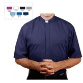 Men's Short Sleeve Clergy Shirt with Tab Collar: Navy, Size 14