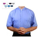 Men's Short Sleeve Clergy Shirt with Tab Collar: Medium Blue, Size 14