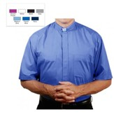 Men's Short Sleeve Clergy Shirt with Tab Collar: French Blue, Size 17.5