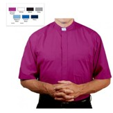 Men's Short Sleeve Clergy Shirt with Tab Collar: Church Purple, Size 14.5