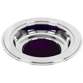 Silver Tone Offering Plate, Purple Pad