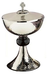Hammered Nickel-Plated & Enamel Ciborium with Celtic Cross Cover