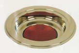 Brass Tone Offering Plate, Burgundy Pad