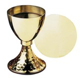 Hammered Base Chalice with Paten Set