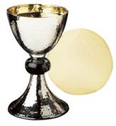 Hammered Nickel-Plated & Enamel Chalice with Paten Set