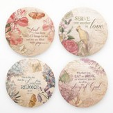 Floral Paper Coasters, Set of 8
