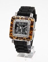 Silicone Band Watch with Leopard Design Dial