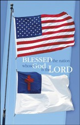 Blessed is the Nation US and Christian Flags (Psalm 33:12) Bulletins, 100