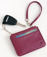 Wristlet with Key Ring and ID Pouch with Cross, Red