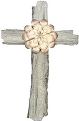 Wall Cross with White Flower