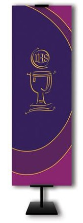 Communion Cup on Purple Field Fabric Banner, 2' x 6'