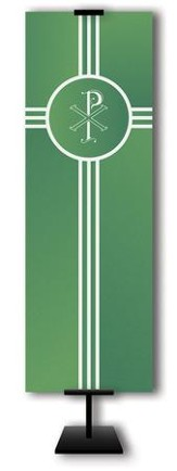 Chi Rho on Trinity Cross on Green Field Fabric Banner, 2' x 6'