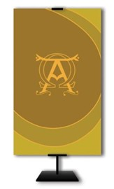 Alpha and Omega on Dark Yellow Field Fabric Banner, 3' x 5'