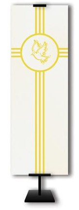 Gold Holy Spirit Dove on Trinity Cross on Cream Field Fabric Banner, 2' x 6'