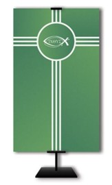 Ichthus on Trinity Cross on Green Field Fabric Banner, 3' x 5'