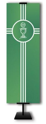 Communion Cup on Trinity Cross on Green Field Fabric Banner, 2' x 6'