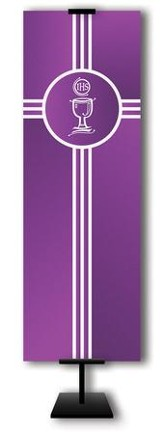 Communion Cup on Trinity Cross on Purple Field Fabric Banner, 2' x 6'