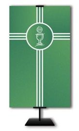 Communion Cup on Trinity Cross on Green Field Fabric Banner, 3' x 5'