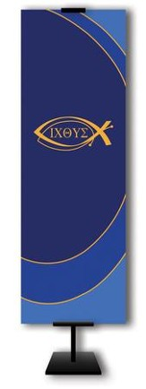 Ichthus on Dark Blue Field Fabric Banner, 2' x 6'