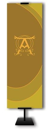 Alpha and Omega on Dark Yellow Field Fabric Banner, 2' x 6'