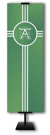 Alpha Omega on Trinity Cross on Green Field Fabric Banner, 2' x 6'