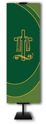 Draped Cross on Green Field Fabric Banner, 2' x 6'