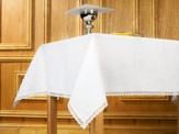 Lace-Trimmed Linen Altar Frontal