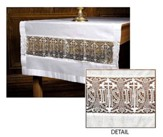 Latin Cross, IHS & Lace Insert Altar Runner, Poly/Cotton