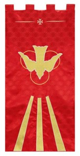 Red Jacquard Banner with Gold Dove