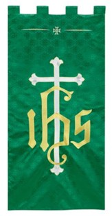 Green Jacquard Banner with IHS Cross