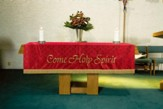 Maltese Jacquard Altar Frontal, Red (Come, Holy Spirit)