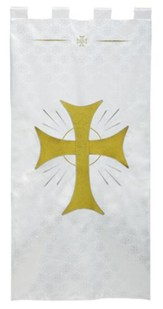 White Jacquard Banner with Gold Maltese Cross