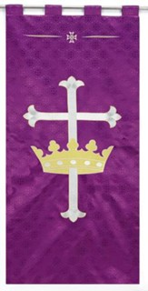 Purple Jacquard Banner with Cross & Crown, Set of 2