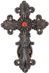 Scroll Work Red Wall Cross