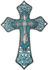 Turquoise Beaded Leather Wall Cross