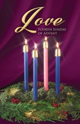 Traditional Wreath Advent Love Bulletins, 100