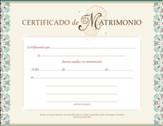 Certificado de Matrimonio, Paquete de 6 (Certificate of Marriage, Pack of 6)