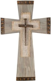 Burlap & Nails Wall Cross