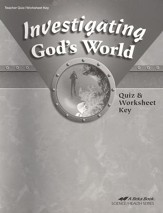 Abeka Investigating God's World Quizzes & Worksheets Key