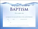 Living Water (1 Peter 1:3, NIV) Foil Embossed Baptism  Certificates, pack of 6