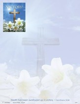 Victory! Cross and Lilies (1 Corinthians 15:54) Letterhead, 100
